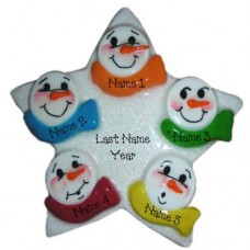 Snowman Star Family of 6 Ornament