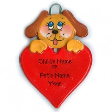 Brown Dog on Heart Ornament