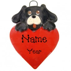 Black Dog on Heart Ornament
