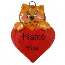 Cat on a Red Heart Ornament