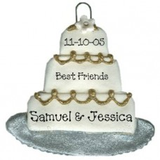 Gold and Silver Wedding Cake Ornament