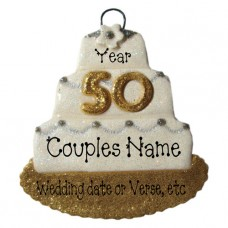 Wedding Cake Ornament 50th Anniversary