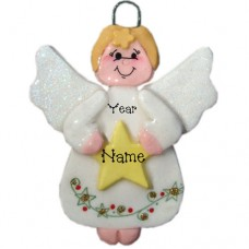 White Angel Holding Star Ornament