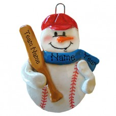Baseball Snowman Ornament