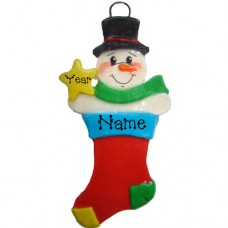 SALE.....Stocking Snowman Ornament