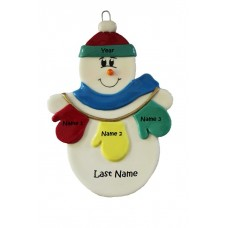 Mitten Snowman Family of 3 Ornament